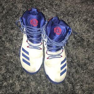 Men's White & Blue Adidas Derrek Rose 7 Boost